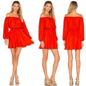 Lovers + Friends medium long sleeve silk red dress